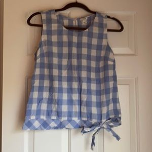 Jcrew gingham sleeveless blouse with side tie
